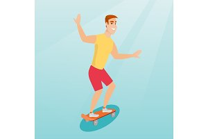 Young caucasian man riding skateboard.