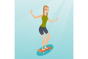 Young caucasian woman riding skateboard.