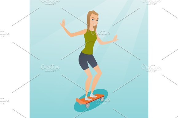 Young Caucasian Woman Riding Skateboard