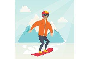Young caucasian man snowboarding.