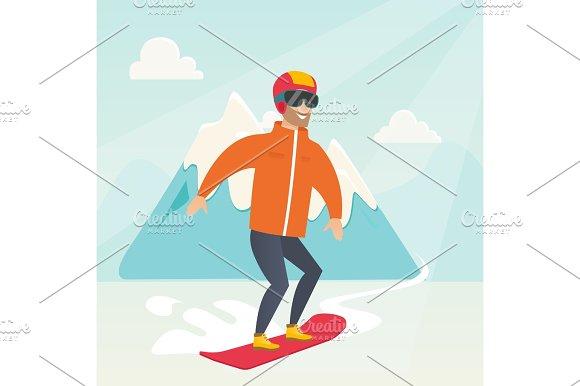 Young Caucasian Man Snowboarding