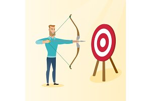 Bowman aiming with a bow and arrow at the target.