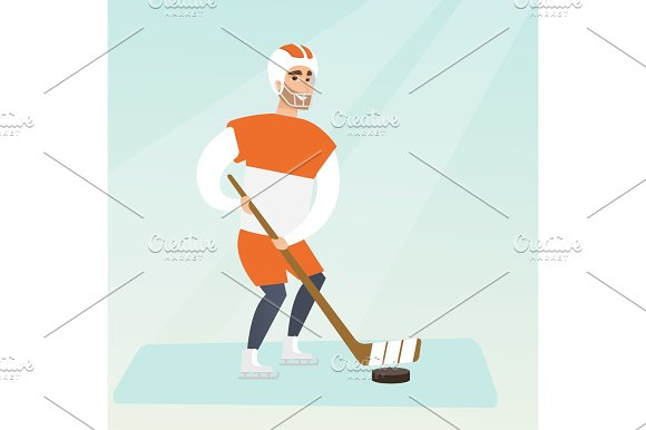 Young Caucasian Ice Hockey Player