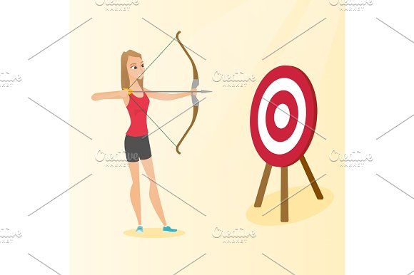 Sportswoman Aiming With A Bow And Arrow At Target