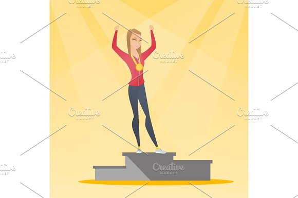 Caucasian Sportswoman Celebrating On Winner Podium