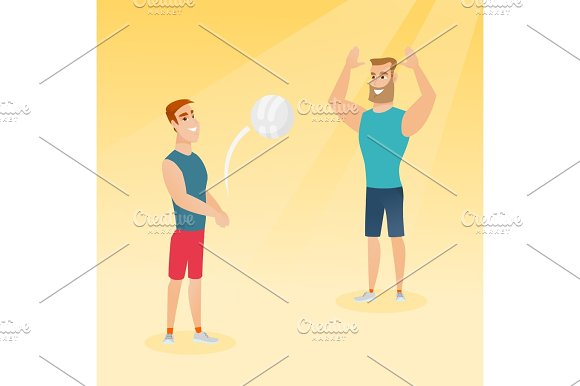 Two caucasian men playing beach volleyball.
