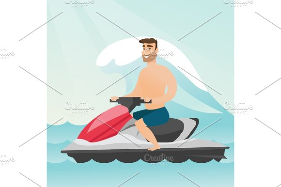Caucasian Man Riding On A Water Scooter In The Sea