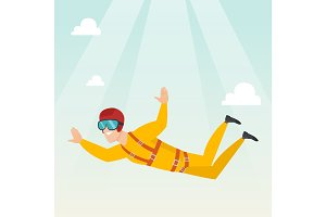 Caucasian parachutist jumping with a parachute.