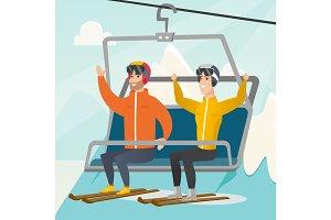 Two caucasian skiers using cableway at ski resort.