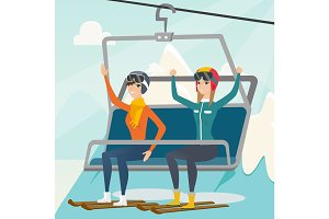 Two caucasian skiers using cableway at ski resort.