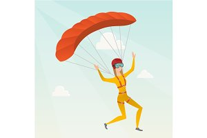 Young caucasian skydiver flying with a parachute.