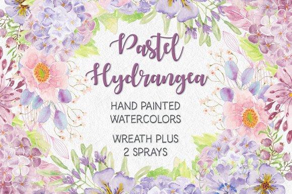 Wreath Of Pastel Hydrangeas