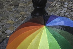 Multicolored umbrella