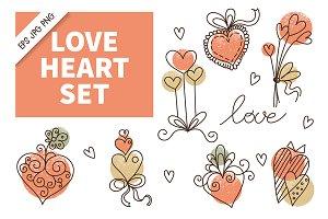 Love Heart Doodle Icon Set