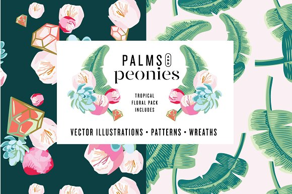 Palms Peonies Illustration Pack