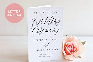 Folded Wedding Program-Editable PDF
