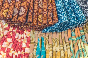 Close up of popular traditional indonesian cotton batik in the shopping mall of Bali island, Indonesia.