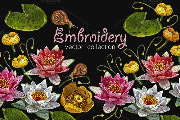 Water Lily Embroidery
