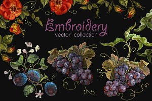 Fruit and flowers embroidery