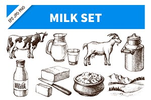 Hand Drawn Sketch Milk Vector Set