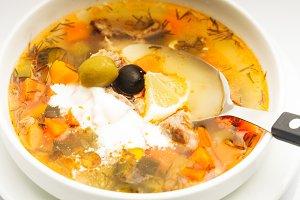 Russian meat soup