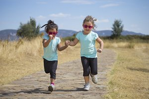 Sisters running