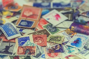 Postage stamps in close up