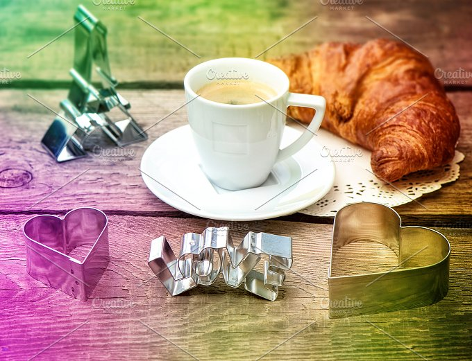 Coffee and Croissant. Love - Holidays