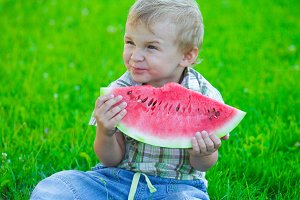 Kid with watermelon