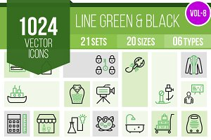 1024 Line Green & Black Icons (V8)