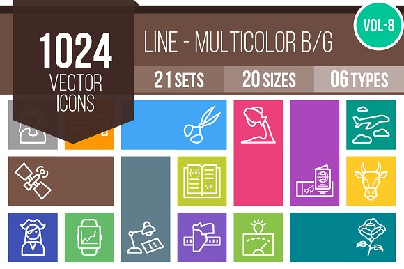 1024 Line Multicolor Icons (V8)