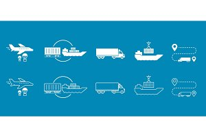 Set of icons Transported Shipping delivery transportation.