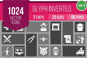 1024 Glyph Inverted Icons (V8)