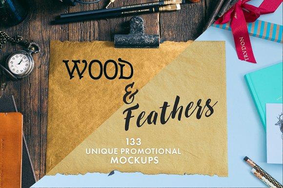 Wood Feathers 133 Promo Mockups