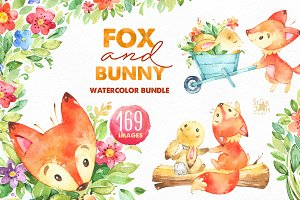 -20% Fox & Bunny. Watercolor bundle.
