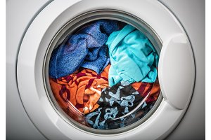 Washing machine with color clothes