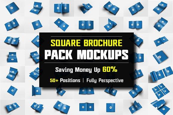 Square Brochure Mockups Pack Bundle