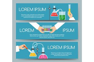 Scientist chemical laboratory banner set