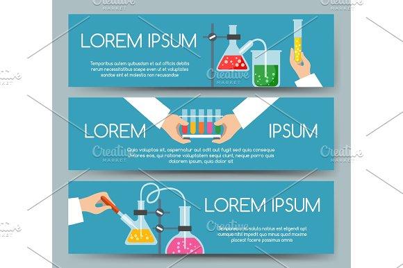 Scientist Chemical Laboratory Banner Set
