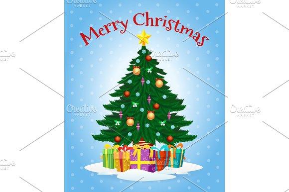 Greeting Card With Cartoon Christmas Tree