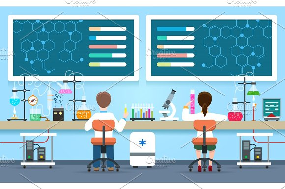 Scientists Research In Laboratory Concept