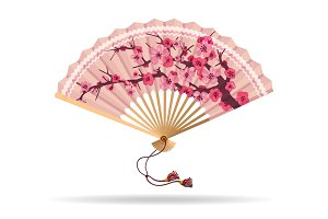 Japan cherry blossom folding fan