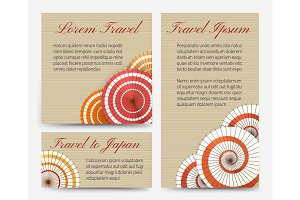 Invitation cards with japanese umbrella set
