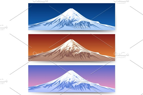 Snow Capped Mount Fuji Banners
