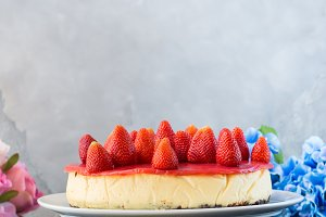Home made strawberry baked cheese cake