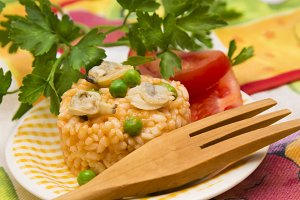dish with seafood risotto