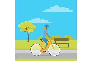 Leisure in City Park Flat Vector Illustration