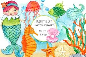 Under the Sea Watercolor Elements