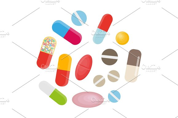 Colored Pills And Capsules Big Medical Set Vector