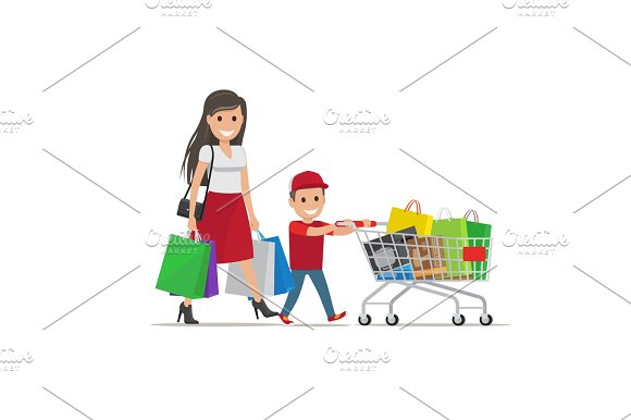 Family Out On Shopping Illustration Mother And Son